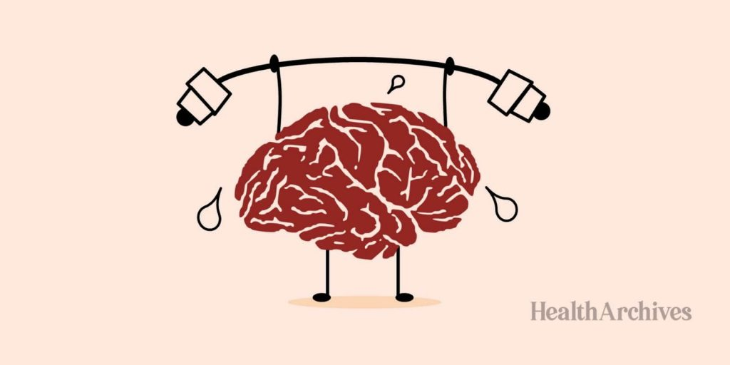 An illustration of a brain lifting up weight to show strength