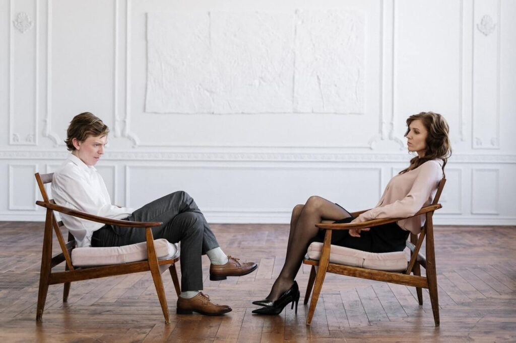 Couple in stress at a psychologist session