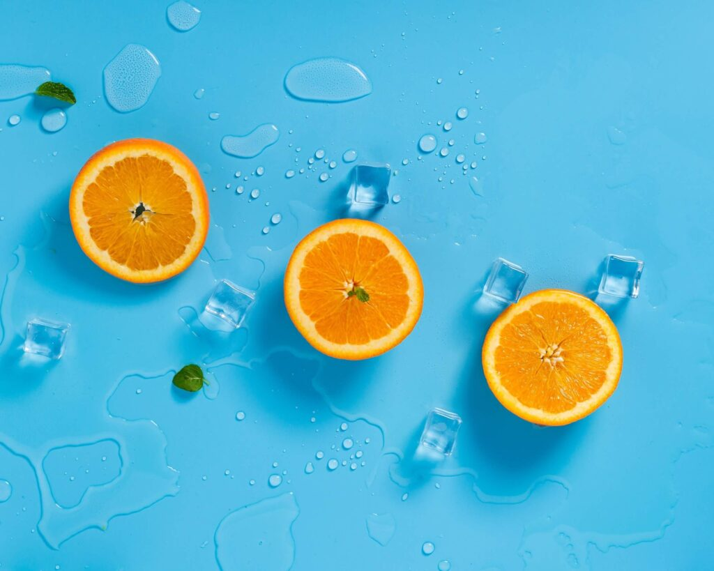 Oranges on a blue background