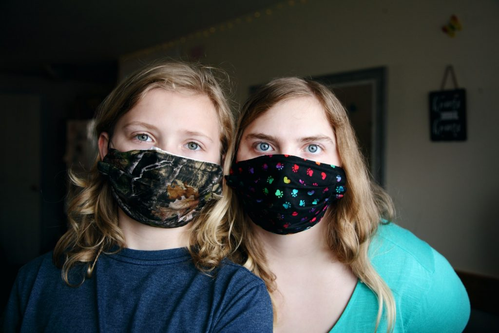 Children wearing masks to protect themselves from Coronavirus