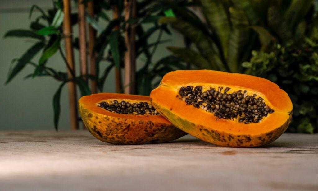 Sliced Papaya fruit on a table