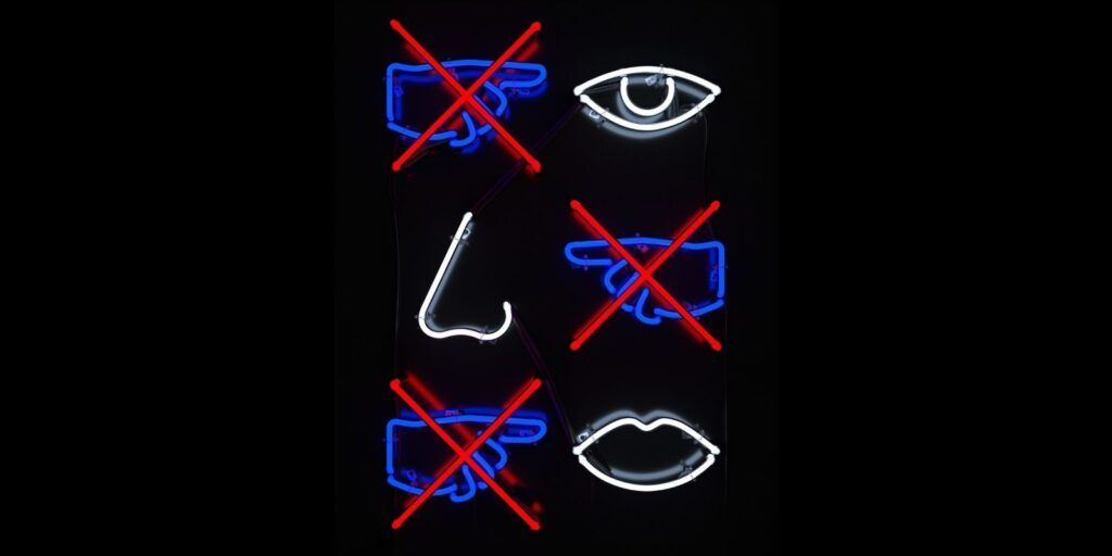 Don't touch eyes, nose, and mouth sign